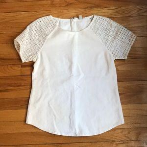 J.Crew white short sleeve top